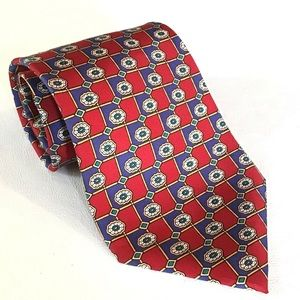 Christian Dior Red Silk Print Tie